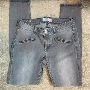 CAbi Gray Zipper Skinny Jeans